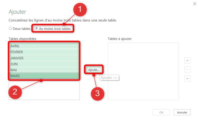 Cas 2 - Sélection des feuilles à 'Ajouter'
