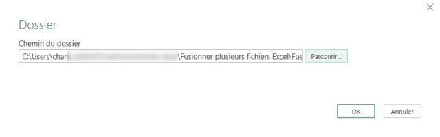 Cas 3 - Sélection du dossier source des fichiers Excel à fusionner