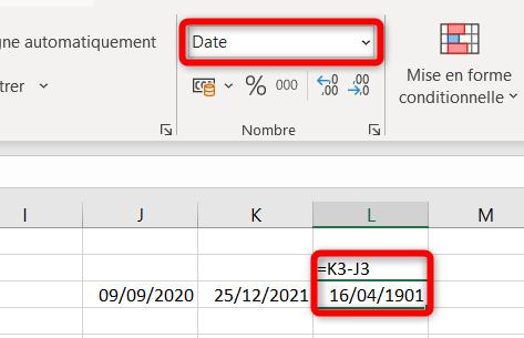 Calcul différence entre deux dates - Format date
