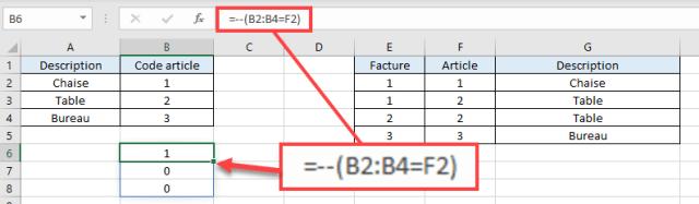 RechercheV Plusieurs criteres - Calcul matriciel - Obtenir des uns et zeros