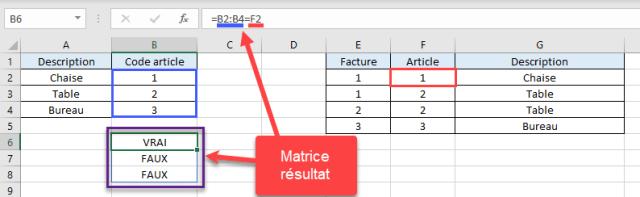 RechercheV Plusieurs criteres - Initiation calcul matriciel