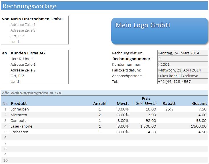 Rechnungsvorlage Excelnova