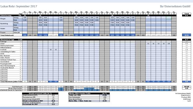 Arbeitszeiterfassung Tabelle