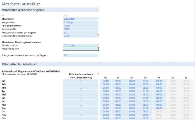 Arbeitszeiterfassung Mitarbeiterstammdaten