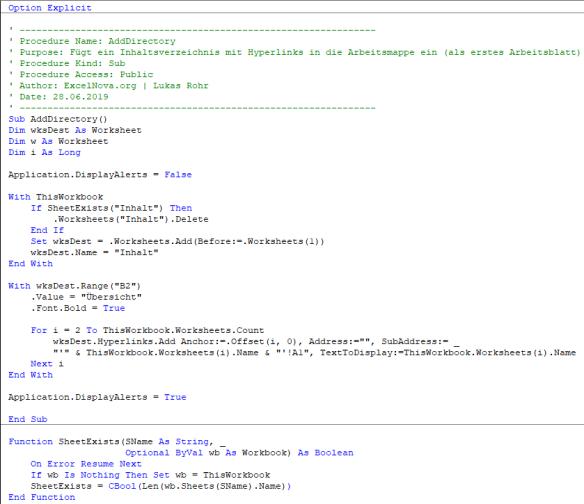 VBA Code Schnipsel: Inhaltsverzeichnis für Arbeitsmappen