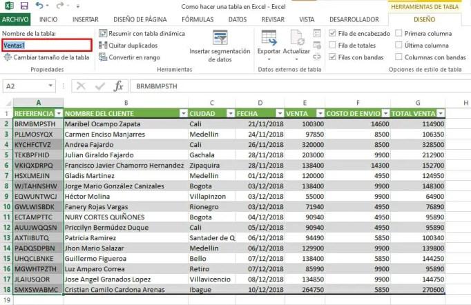 Cambiar nombre a una tabla en Excel
