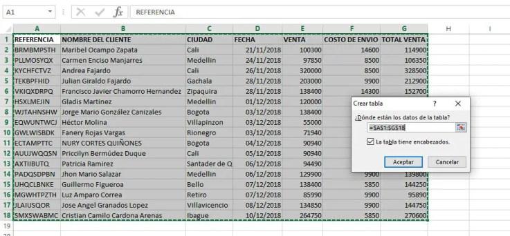 Crear una tabla en Excel