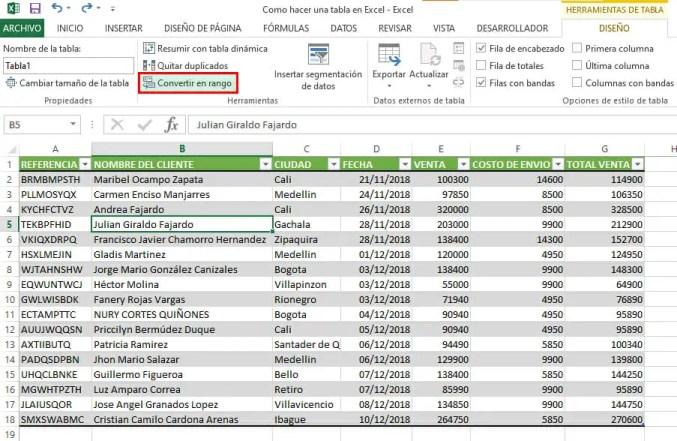 Eliminar una tabla en Excel sin afectar los datos