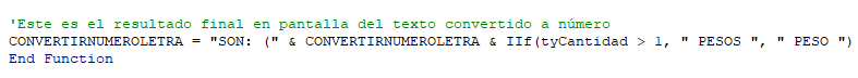 Personalizar moneda con la función de convertir números a letras en Excel