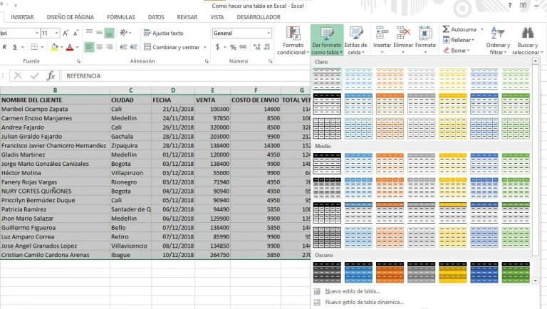 Tabla en Excel con estilo y formato
