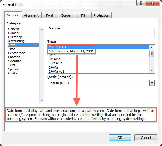 Image result for date format cell dialog box in excel 2013