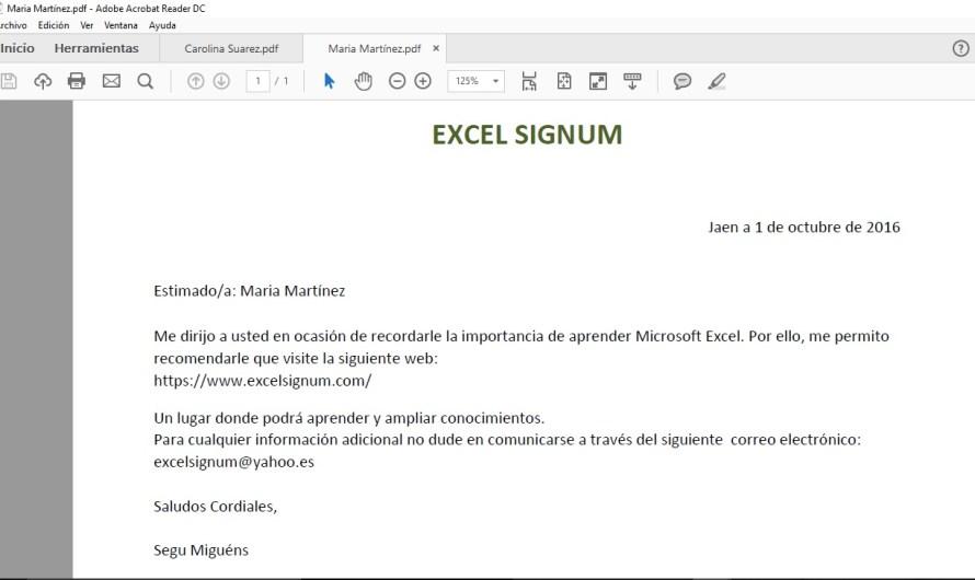 COMBINAR CORRESPONDENCIA EN EXCEL Y GUARDAR EN PDF
