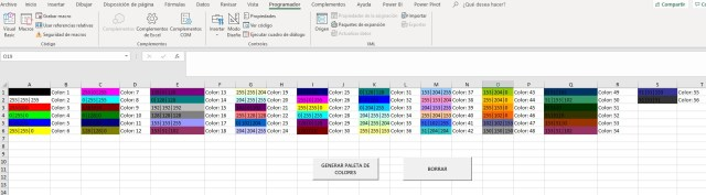 OBTENER CODIGO RGB DE LA PALETA DE COLORES DE EXCEL