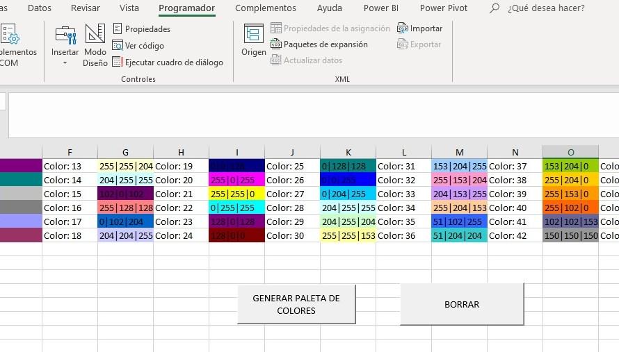 OBTENER CÓDIGO RGB DE LA PALETA DE COLORES DE EXCEL CON VBA