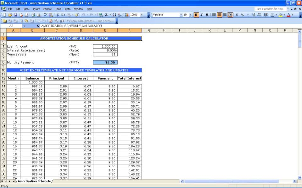 Amortization Schedule Template In Excel 2010 | Mytemplate.Co
