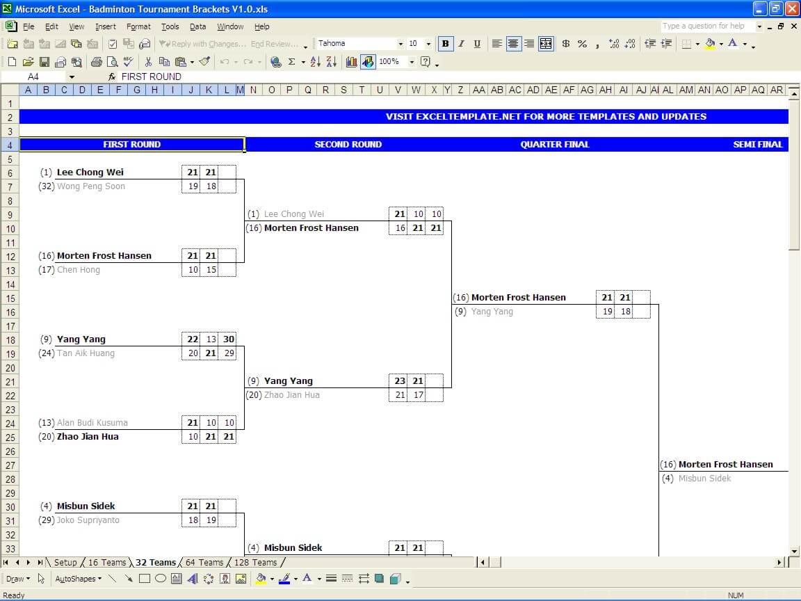 Badminton Tournament Bracket