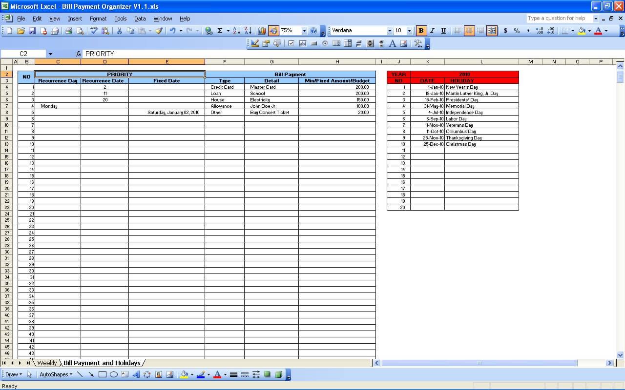 Bill Payment Calendar Exceltemplate