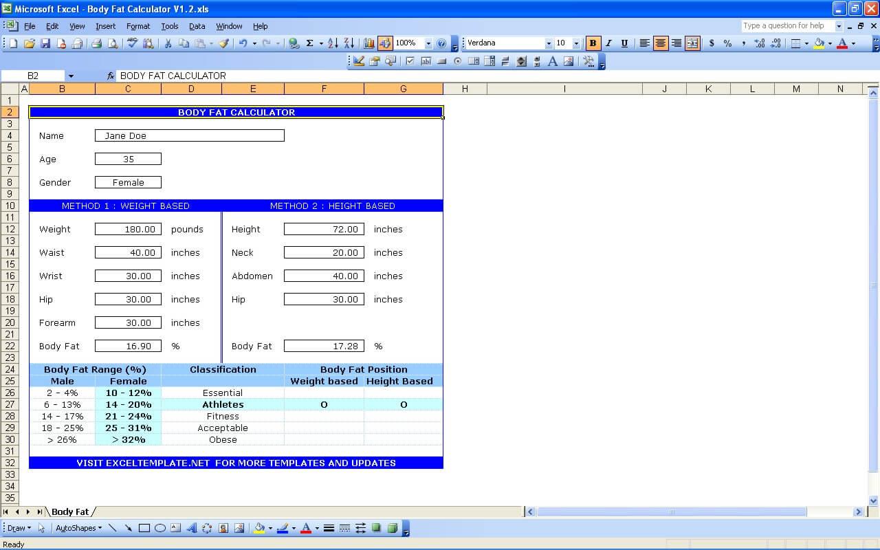 Body Fat Caliper Navy Calculator Exceltemplate