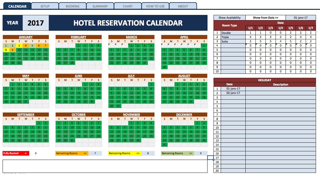 Booking And Reservation Calendar