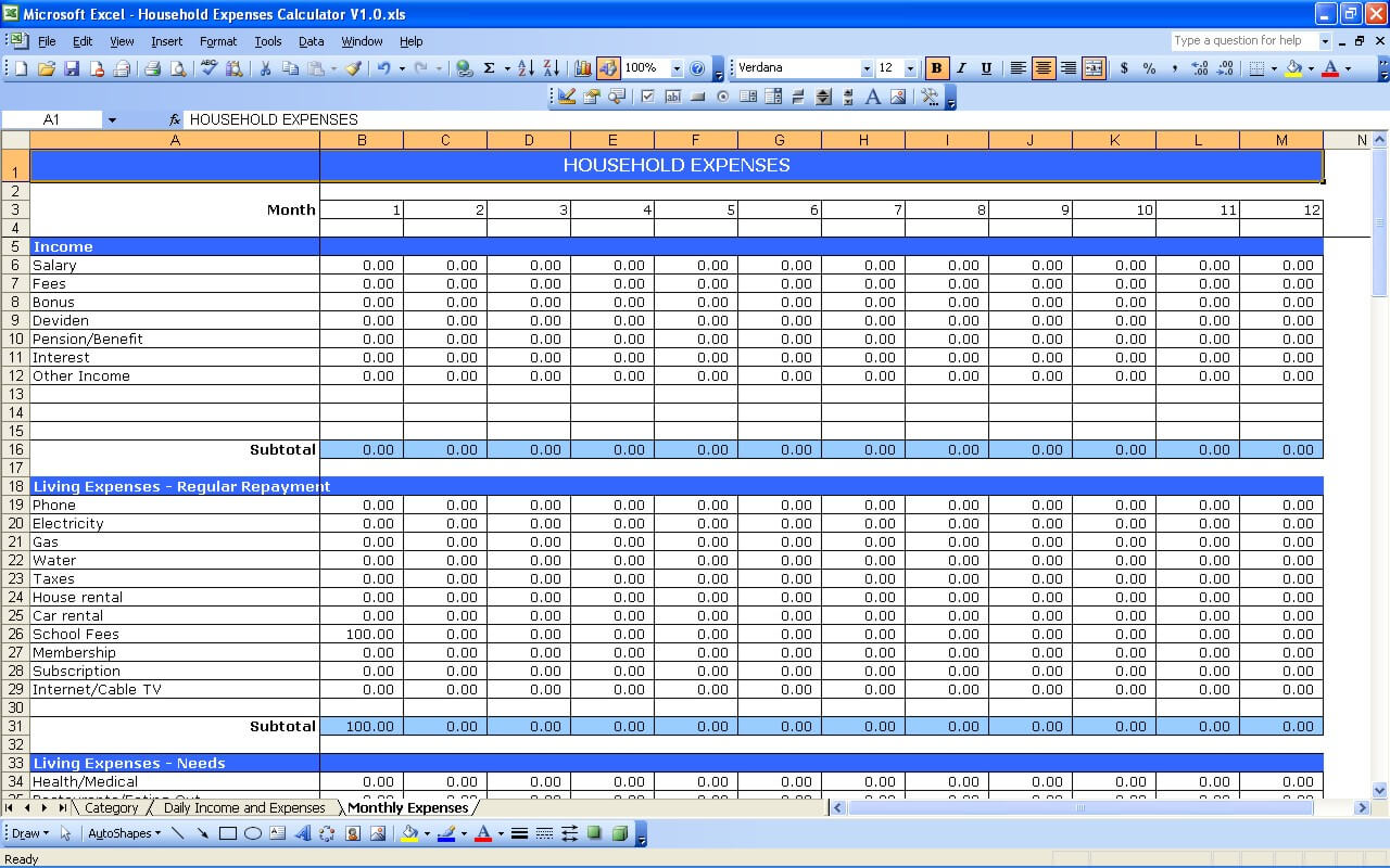 Household Expenses Tracker Exceltemplate Net
