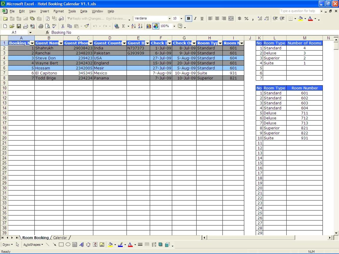 Template Excel. booking calendar. excel dashboard template ...