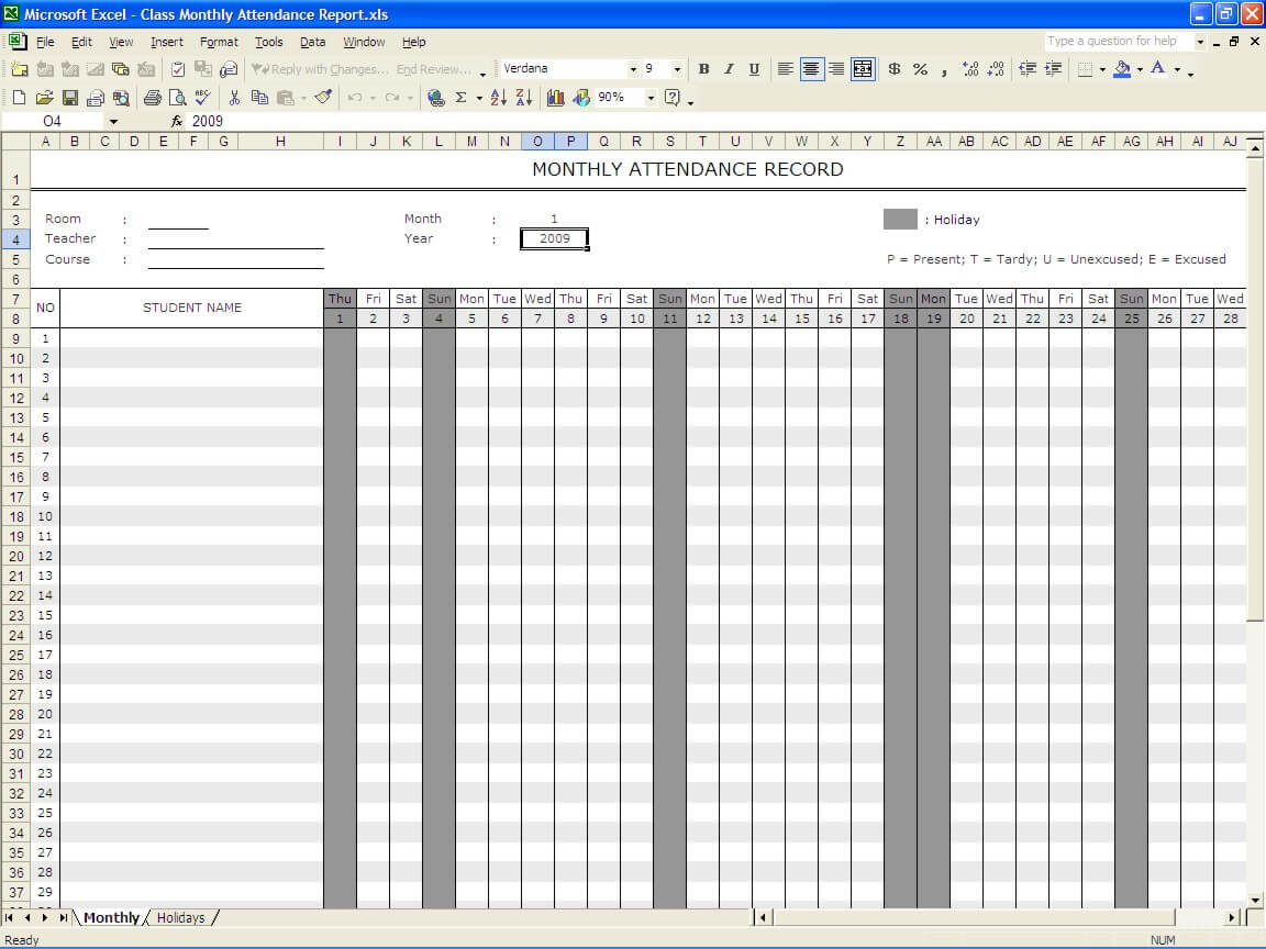 Student Attendance Sheet Weekly Monthly Exceltemplate