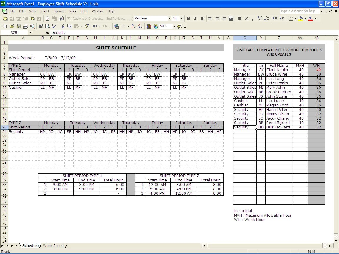 Employee Schedule Maker Exceltemplate