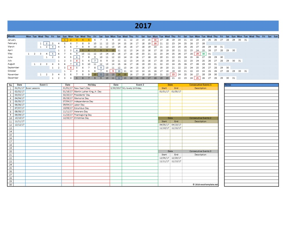 Yearly Calendar Template Exceltemplate