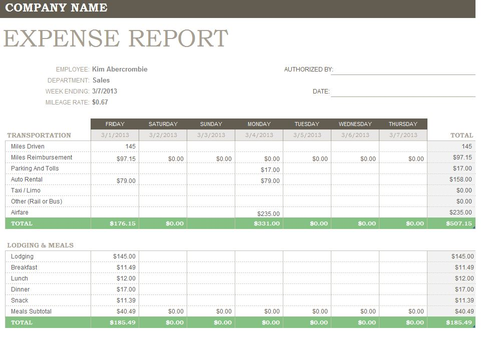 Doc902608 Free Printable Expense Report Forms Printable – Printable Expense Report Template