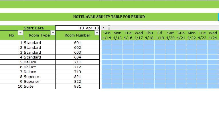 excel booking calendar template