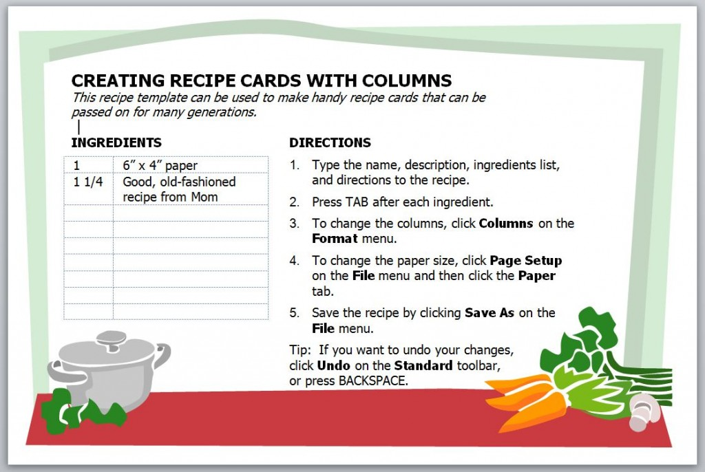 word how to choose and use a microsoft word recipe template – Free Recipe Card Templates for Word