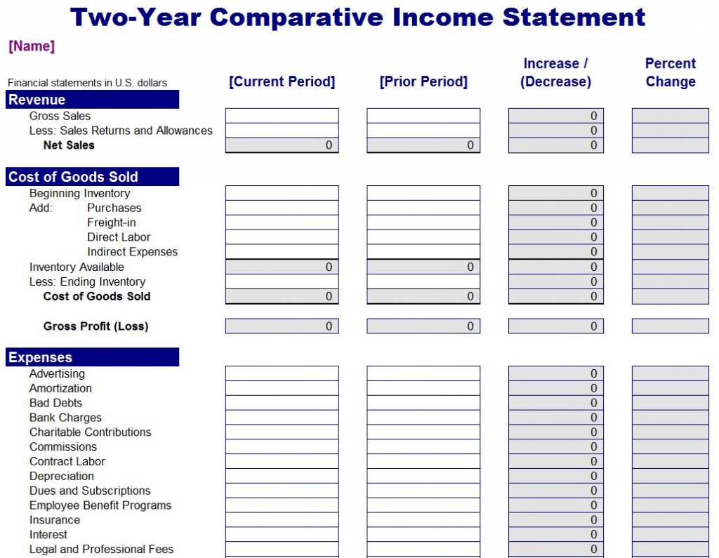 Template For Income Statement personal income template – Income Template