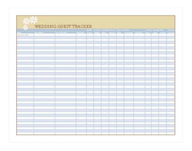 Wedding Planning Guest List Spreadsheet - Wedding Invitation Sample