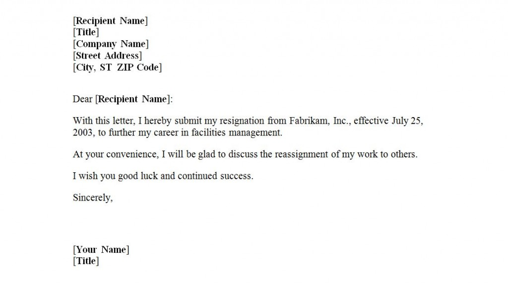 free job resignation letter administrative