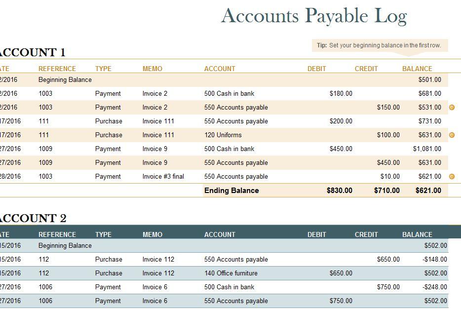 Accounts Payable Log