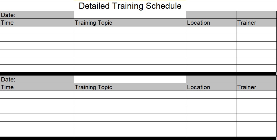 Training Schedule Template Excel Free