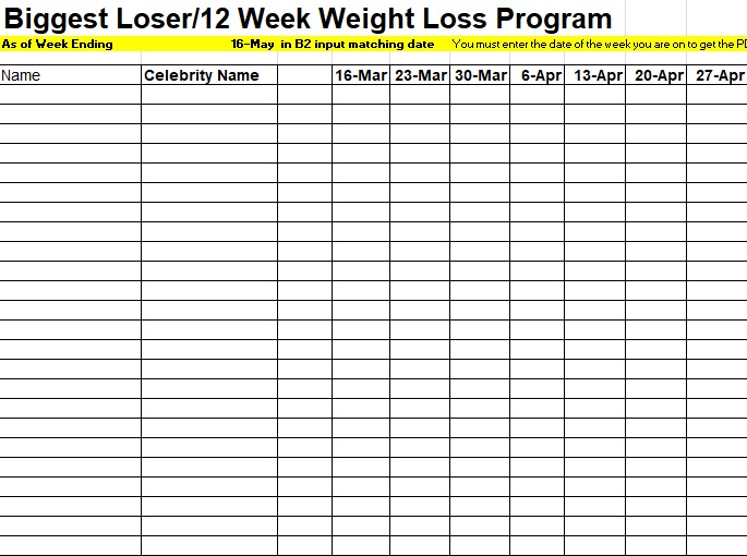 Download Biggest Loser Tracking Spreadsheet Template