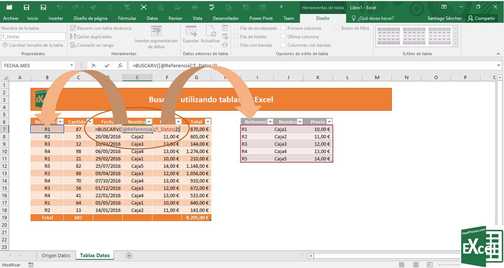 Buscarv Utilizando Tablas En Excel
