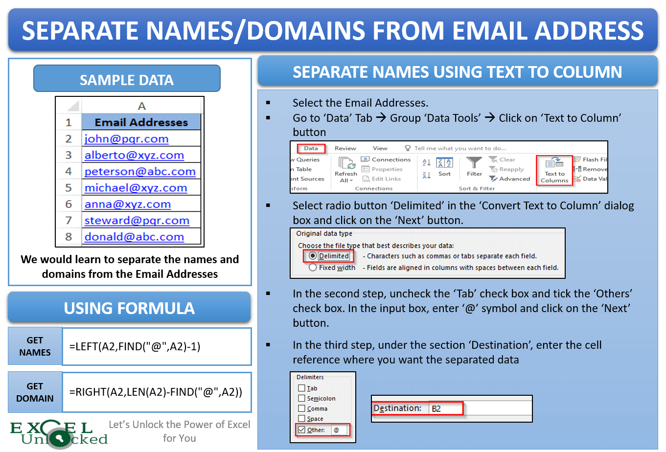 How To Get Name From Email Address In Excel