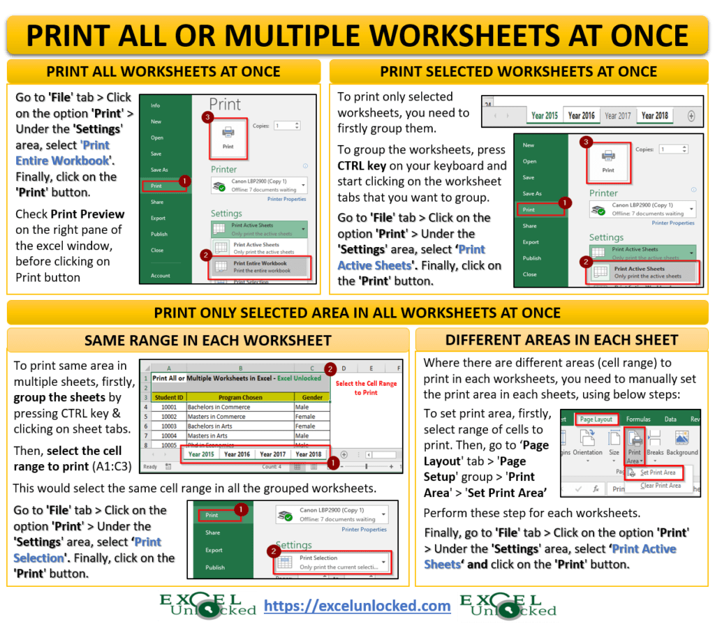 How To Print All Or Multiple Worksheets In Excel