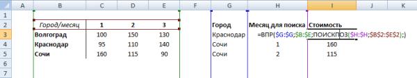 Поиск в двумерном массиве Excel