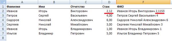 СЦЕПИТЬ в Excel
