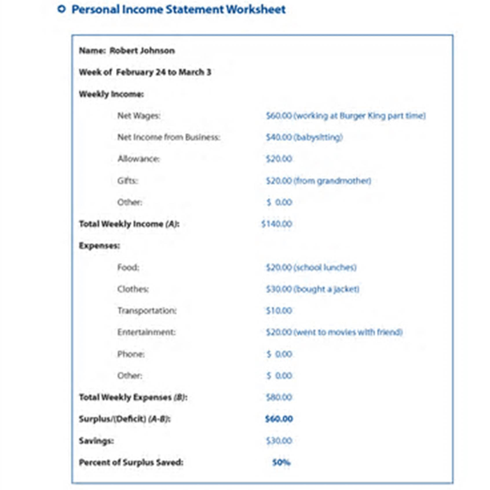 Income Statement Worksheet Income Spreadsheet Income