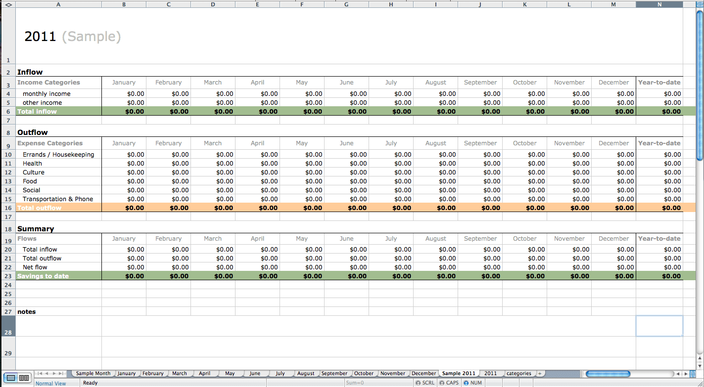 Monthly Bookkeeping Template