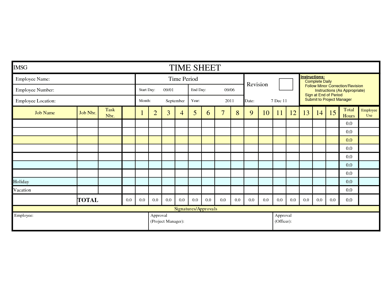 Time Spreadsheet Template