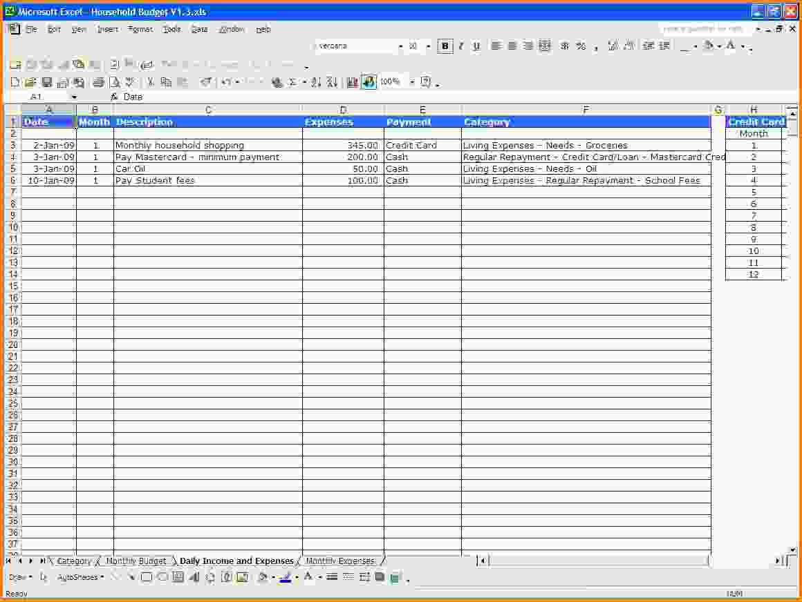 Excel Spreadsheet Template For Expenses Expense