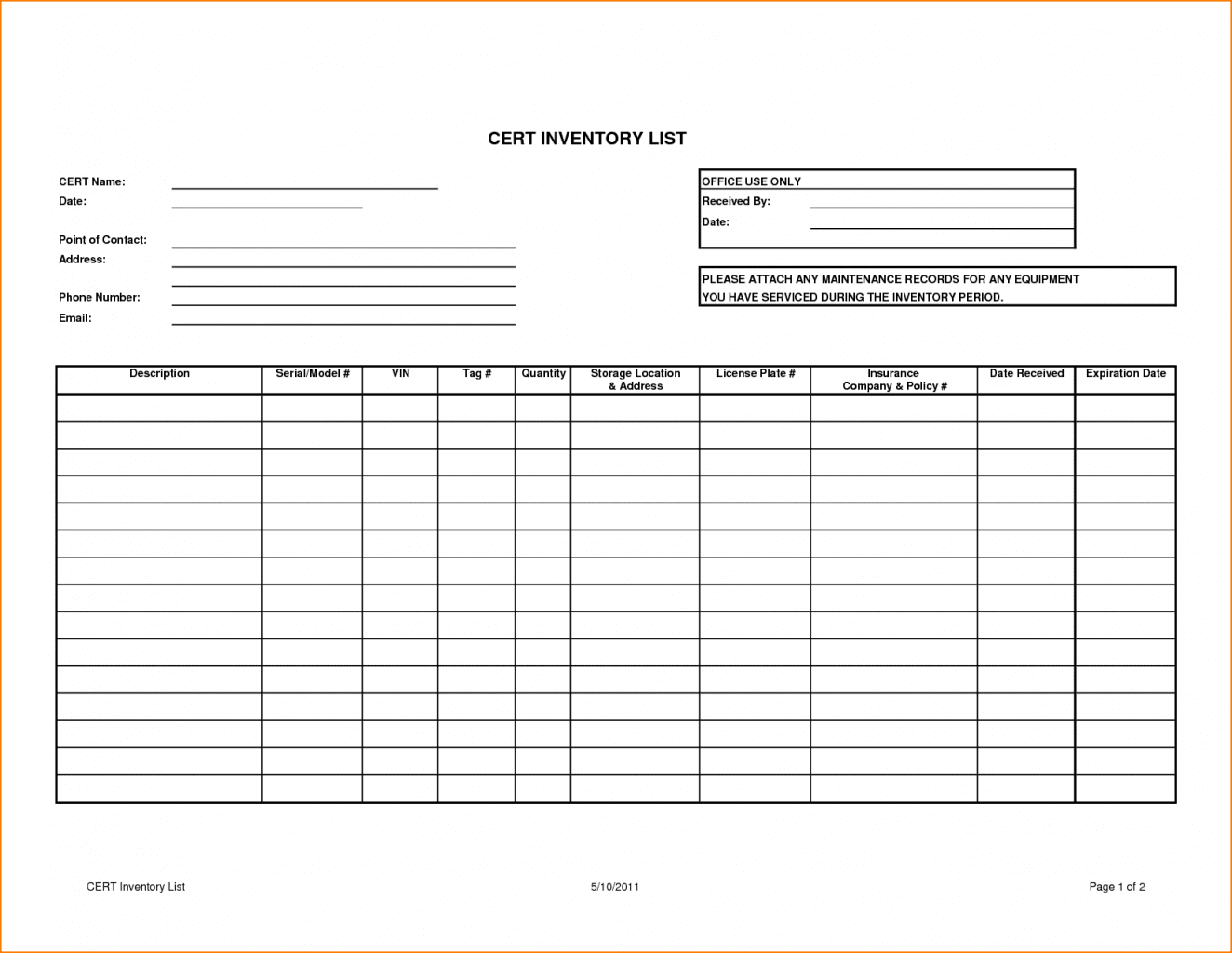 Inventory Tracking Spreadsheet Template Free