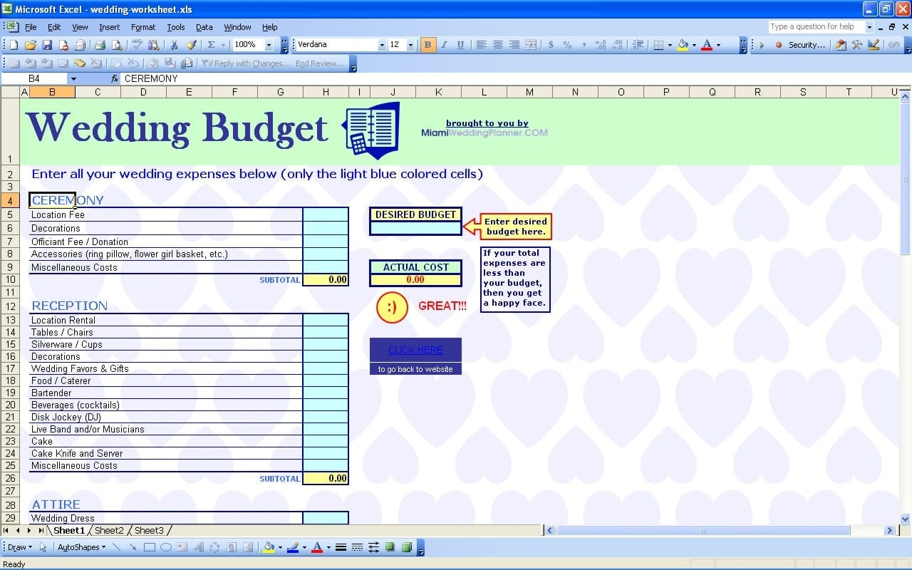 Wedding Budget Template Free 1