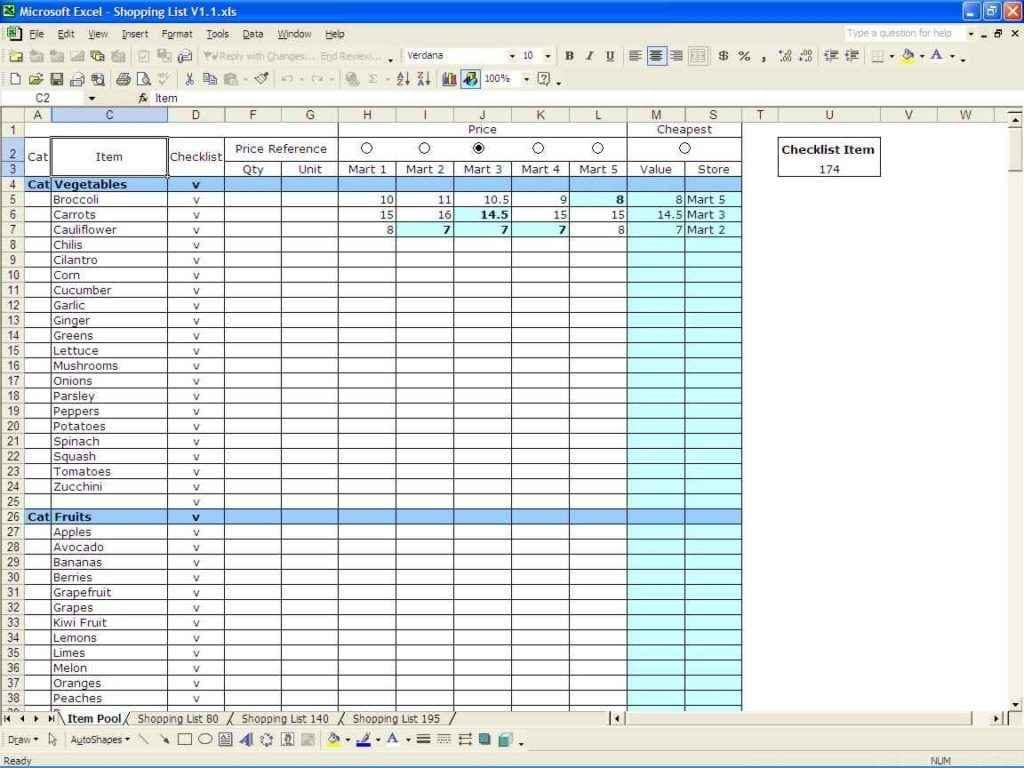 Spreadsheet Template Excel
