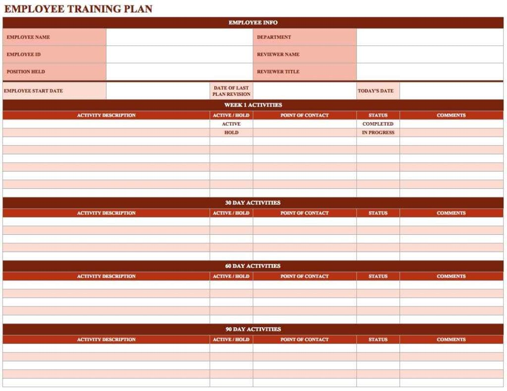 Training Spreadsheet Worksheet Templates For Teachers